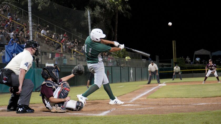 Park View's Michael Rodriguez hits the first of his three home runs Sunday night, a two-run shot in the third inning. He also hit a grand slam and finished with eight RBIs.