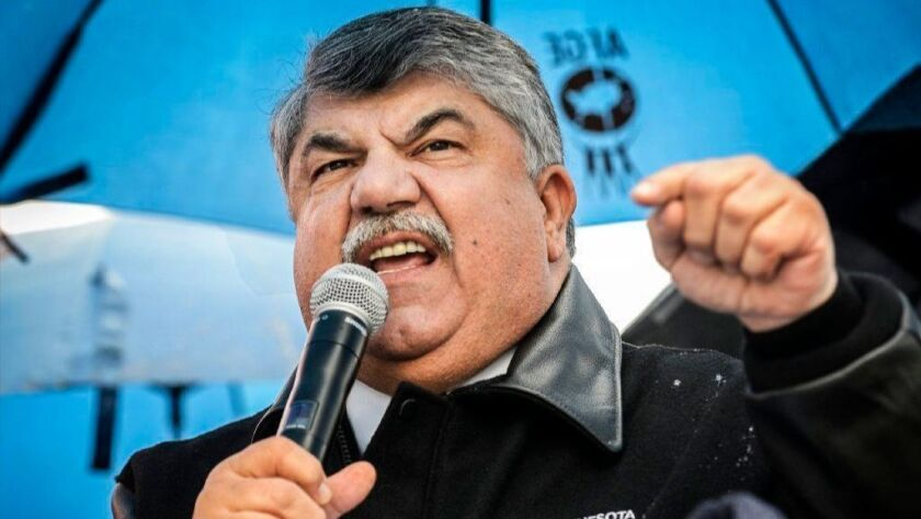 AFL-CIO President Richard Trumka addresses union members and congressional leaders during a rally for wage increases in 2016.