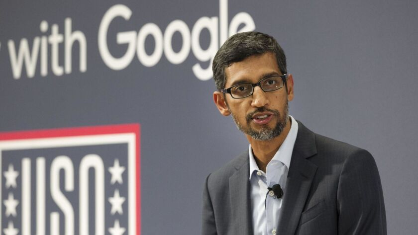 Google CEO Sundar Pichai was at the USO in San Diego to unveil military-specific tools and resources from the company's Grow With Google campaign and award a grant to the USO to help train military personnel and veteran transitioning to civilian life.