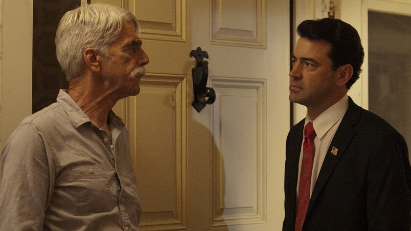 (L-R) Sam Elliott as Calvin Barr and Ron Livingston as Flag Pin in the action-thriller ?THE MAN WHO
