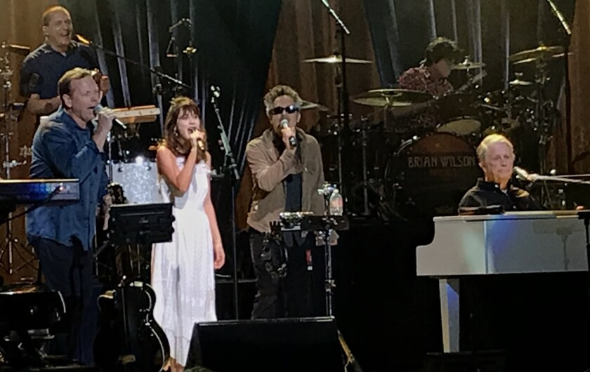 Brian Wilson with She & Him's Zooey Deschanel and M. Ward