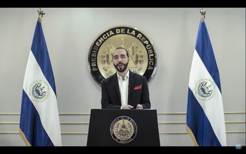 In this image take from UNTV video, Nayib Armando Bukele, President of El Salvador, speaks in a pre-recorded video message during the 75th session of the United Nations General Assembly, Tuesday, Sept. 29, 2020, at U.N. headquarters in New York. (UNTV via AP)