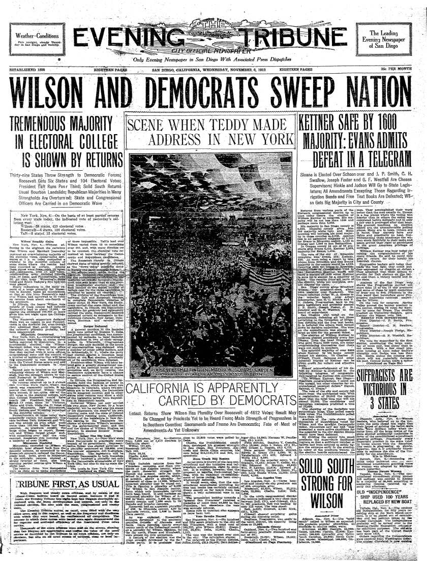 Nov. 6, 1912 front page of the Evening Tribune