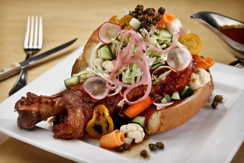 Pan con chompipe is a Salvadoran sandwich made with a 2-pound turkey leg.