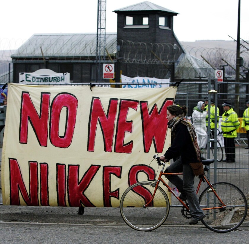 A ban-the-bomb protest in Scotland, 2007. A Los Alamos research says he was fired for calling for an end to nuclear weapons.