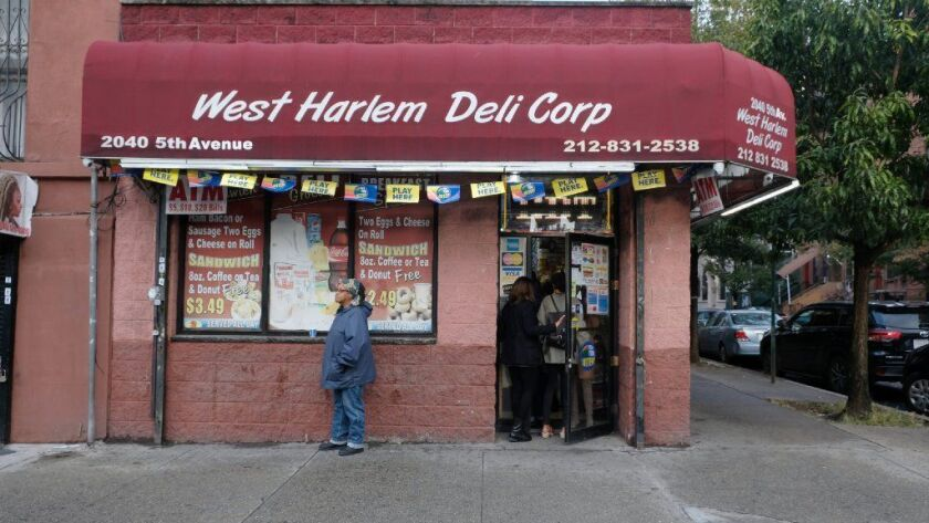 The West Harlem Deli in Manhattan, where a winning Powerball ticket was sold.