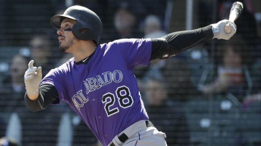 Colorado Rockies' Nolan Arenado bats against the Arizona Diamondbacks during a spring baseball game
