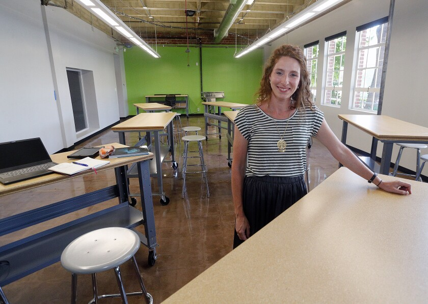 Bridget Higgins, dean of academic excellence, in her classroom at the St. John Paul II STEM Academy in Burbank. The school, on the site of former Bellarmine-Jefferson High School, will feature co-institutional learning.