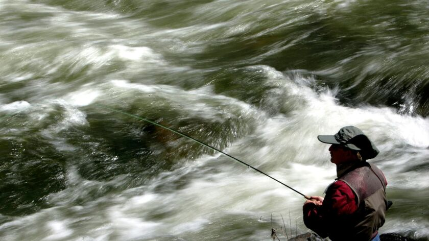 In this 2008 photograph, a man fishes for trout against a backdrop of rushing rapids on the Kern River.