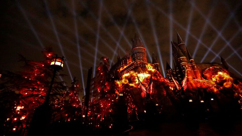 Universal Studios Hollywood provides a preview of the new spectacle the Nighttime Lights at Hogwarts Castle, coming to the park June 23 with music by John Williams.