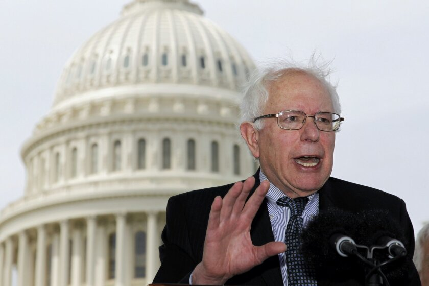 FILE - In this May 10, 2011, file photo Sen. Bernie Sanders, I-Vt., gestures during a news conference on Capitol Hill in Washington to discuss single-payer health care bills in the Senate and House. In In 2016 Democratic presidential candidate Sanders says his plan for a government-run health care