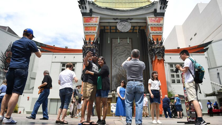 HOLLYWOOD-CA-MAY 2, 2017: Tourists visit the TCL Chinese Theatre IMAX in Hollywood on Tuesday, May 2