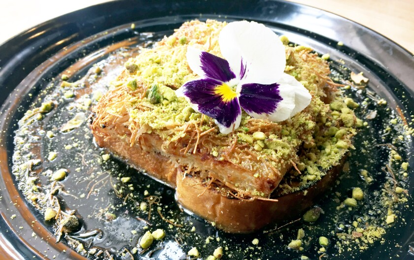 Kanafeh, a Middle Eastern-inspired sweet breakfast dish, is the specialty of the house at Toast Gastrobrunch in Carlsbad.