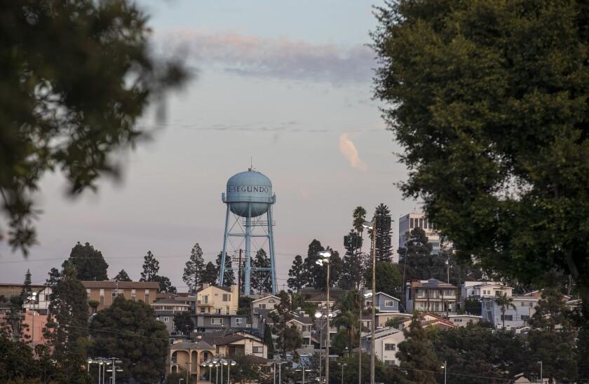 A view of the El Segundo water tower and surrounding neighborhood.