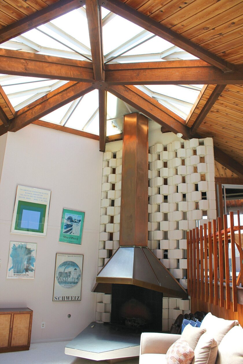Exhibit curator Keith York says La Jolla Racquet Club condominiums off Torrey Pines Road, designed by Frank Lloyd Wright apprentice Loch Crane (1965), conveys many 'Wrightian elements,' including its hexagonal community space.