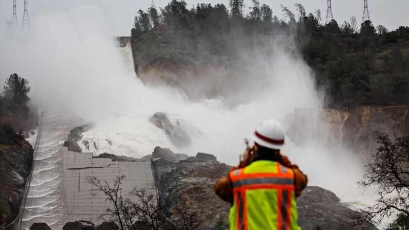 OROVILLE, CALIF. -- SUNDAY, FEBRUARY 19, 2017: Water output on the Oroville Dam has been reduced to