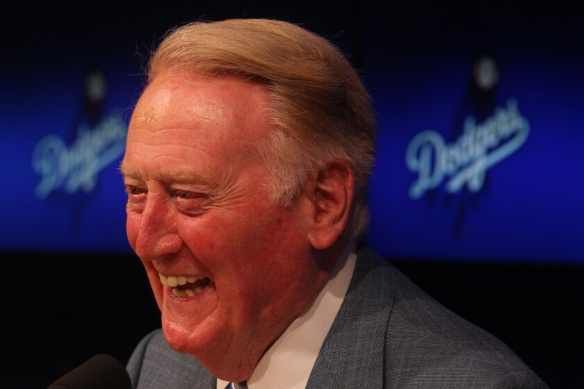 Vin Scully has been broadcasting Dodgers games for 66 seasons.
