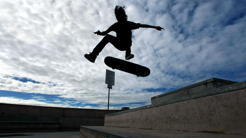 VENICE, CA–FEBRUARY 16, 2011: Eli McBeth, 16, visiting from Vancouver, gets airborne while performin