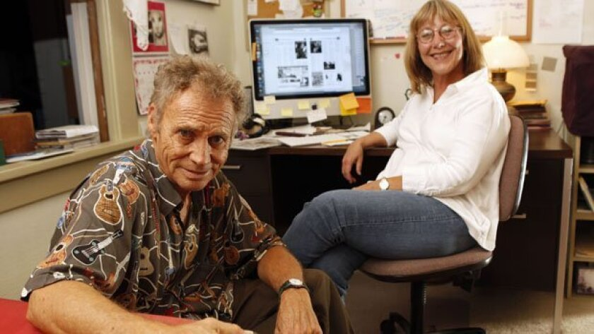 Kent Johnson and Liz Abbott are the co-founders and publishers of 10-year-old San Diego Troubadour, which they produce mostly in their University Heights home.