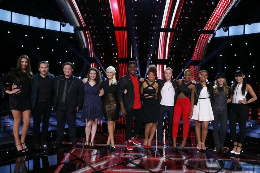 'The Voice' Season 8 top 12, from left: Deanna Johnson, Joshua Davis, Brian Johnson, Hannah Kirby, Meghan Linsey, Rob Taylor, India Carney, Corey Kent White, Kimberly Nichole, Koryn Hawthorne, Sawyer Fredericks and Mia Zanotti.