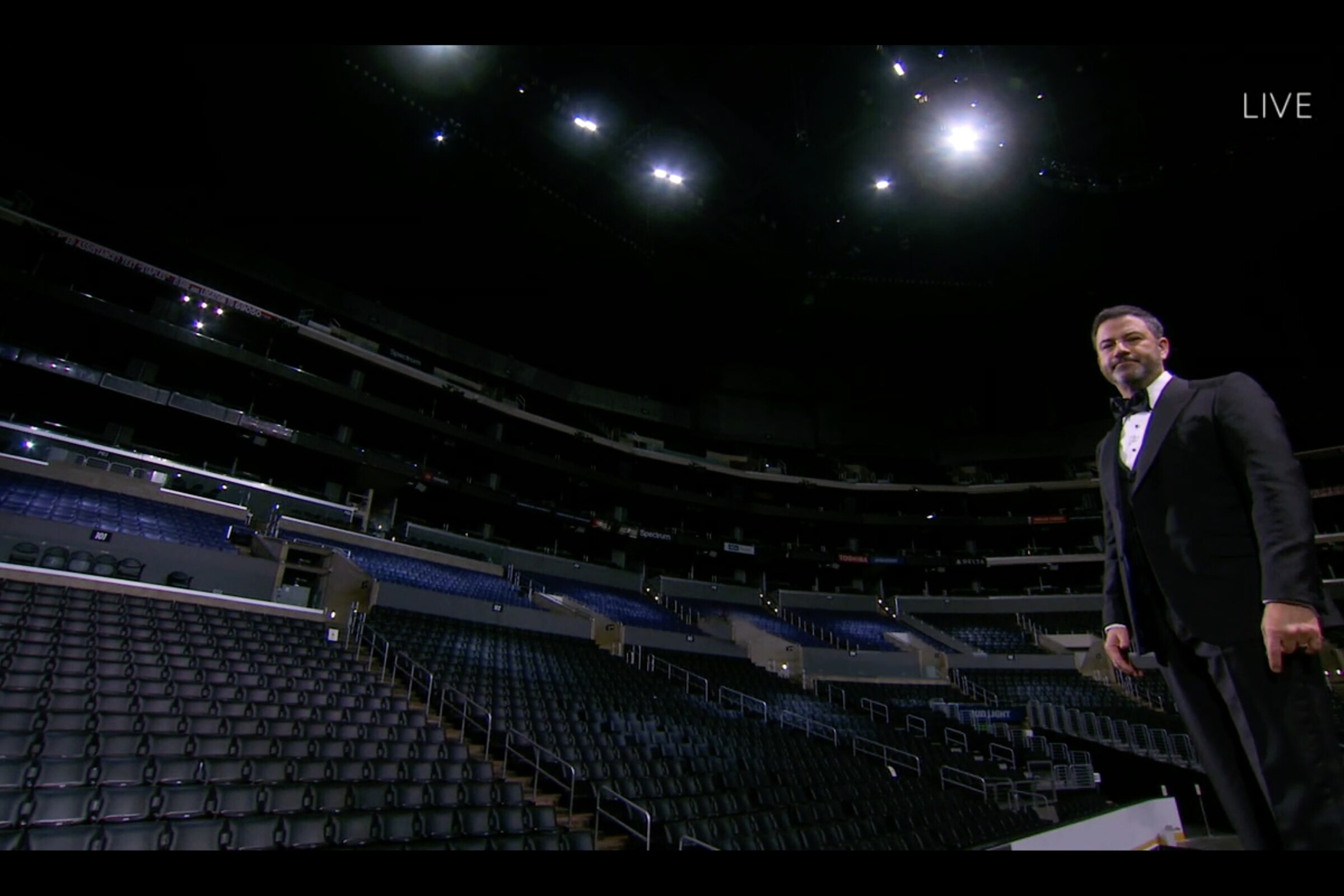 Jimmy Kimmel hosts the 72nd Emmy Awards at an empty Staples Center.