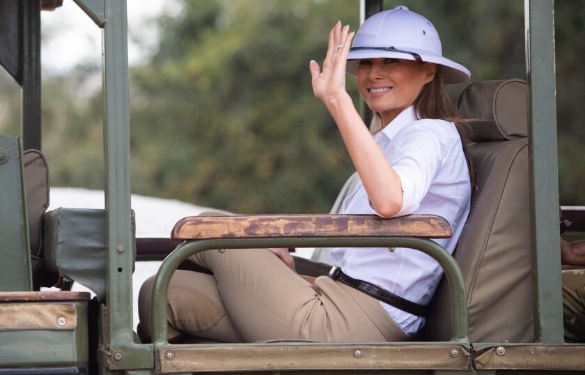 First Lady Melania Trump on a safari at Nairobi National Park,
