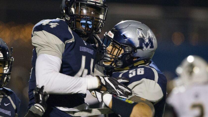 Madison linebacker Chris Fatilua (right) cheers a teammate's interception.