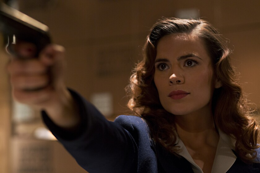 """Hayley Atwell stars as Agent Carter, a super spy trying to hide her activities from those around her, in """"Marvel's Agent Carter."""""""