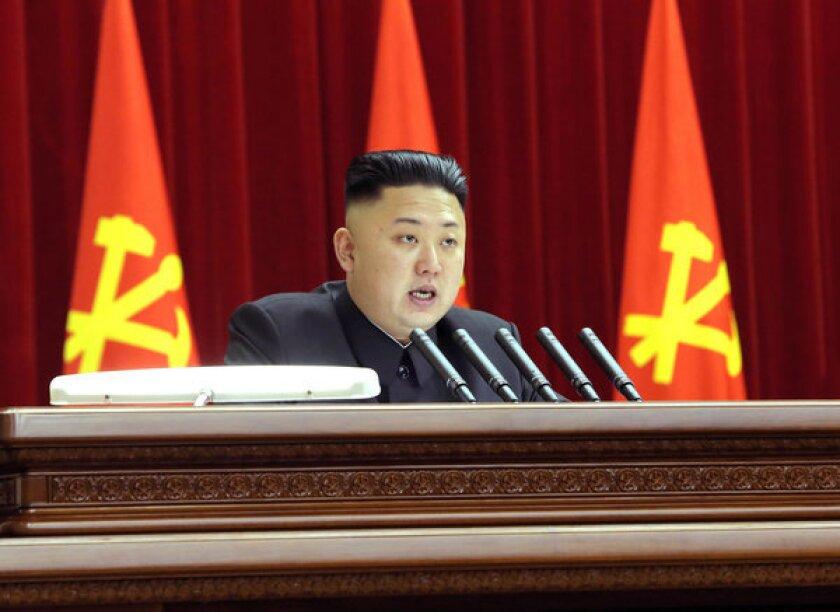 North Korean leader Kim Jong Un gives a speech last month.