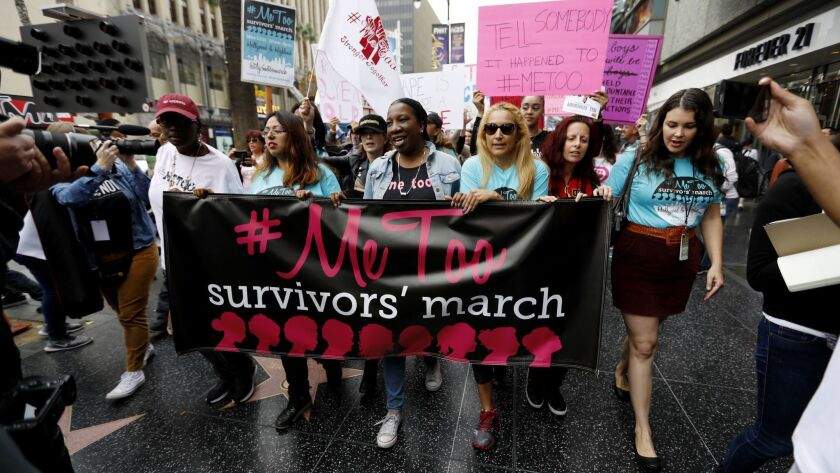 LOS ANGELES, CALIF. -- SUNDAY, NOVEMBER 12, 2017: Sexual assault survivors along with their supporte