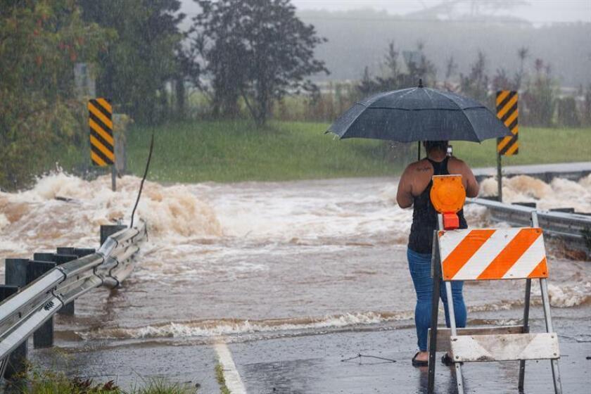 Vista de las inundaciones provocadas por las lluvias del huracán Lane en Hilo, Hawái, Estados Unidos. EFE