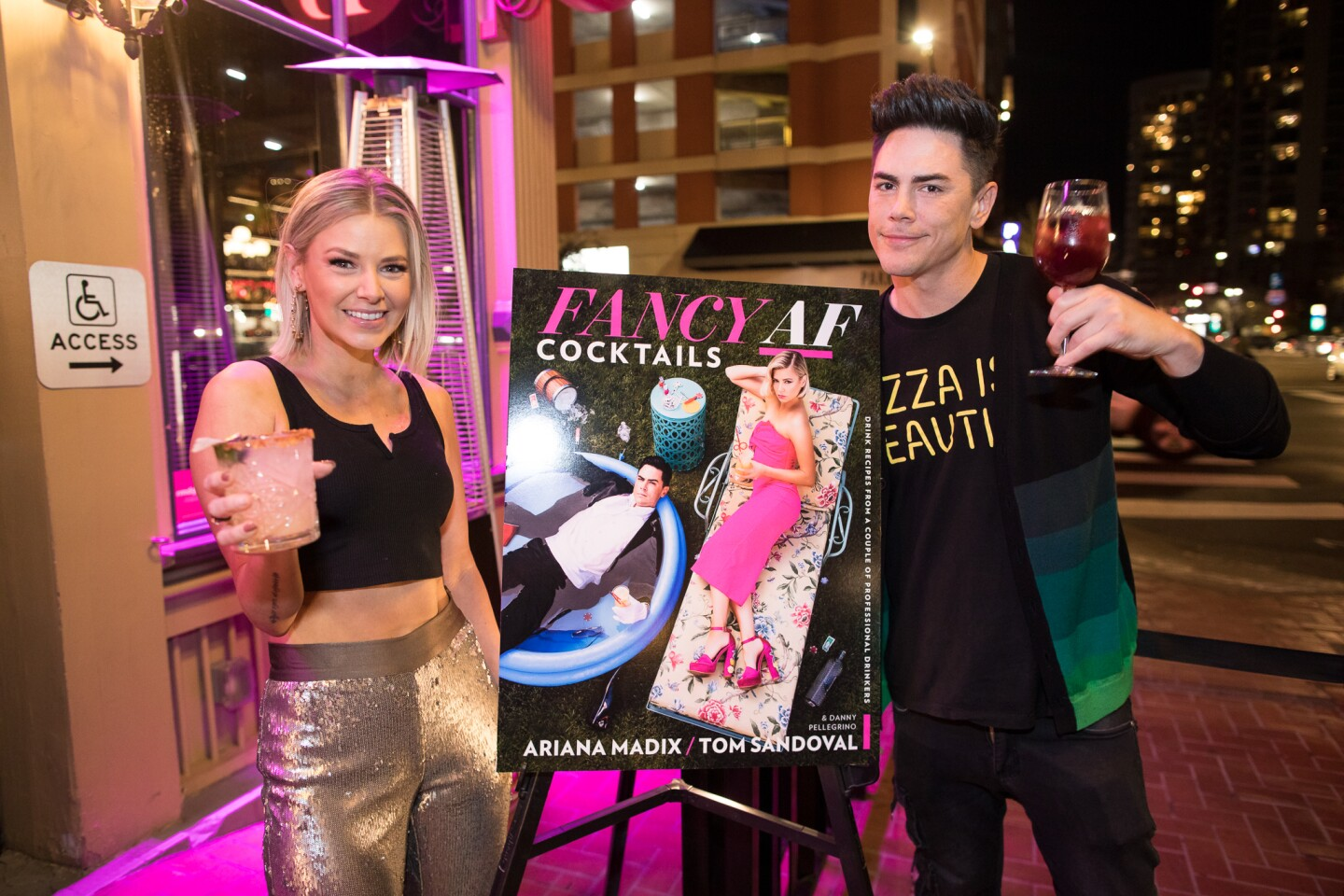 "Fans of ""Vanderpump Rules"" got their drink on with Tom Sandoval and Ariana Madix at a book signing for their new cocktail book, ""Fancy AF Cocktails: Drink Recipes from a Couple of Professional Drinkers"" at Side Bar nightclub on Friday, Jan. 31, 2020."