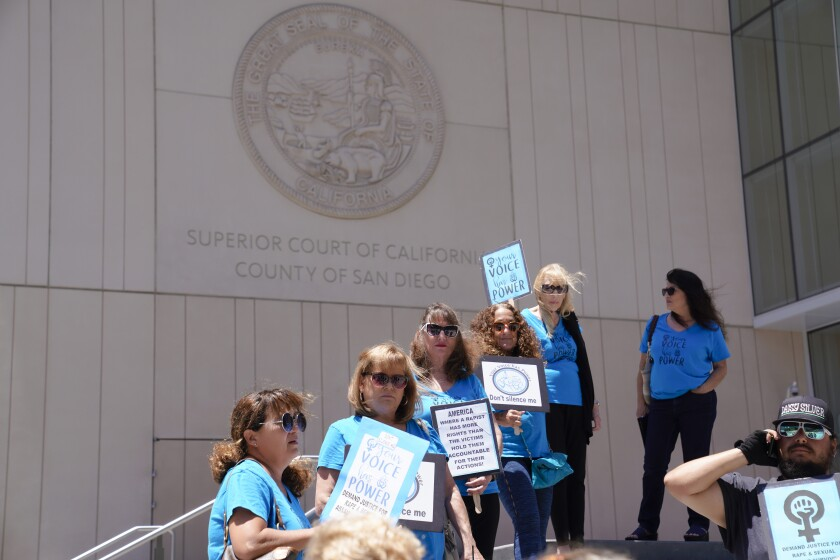 Several from the group Your Voice has Power, stood outside San Diego Superior Court in protest Monday before Judge Gill handed down his decision to conditionally release sexually violent predator Alvin Quarles, 56, from a state hospital.