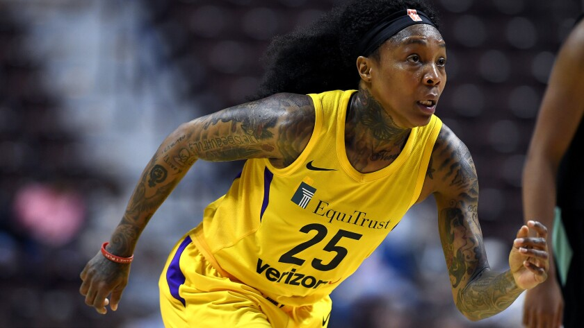 Los Angeles Sparks' Cappie Pondexter during a preseason WNBA basketball game, Wednesday, May 8, 2018