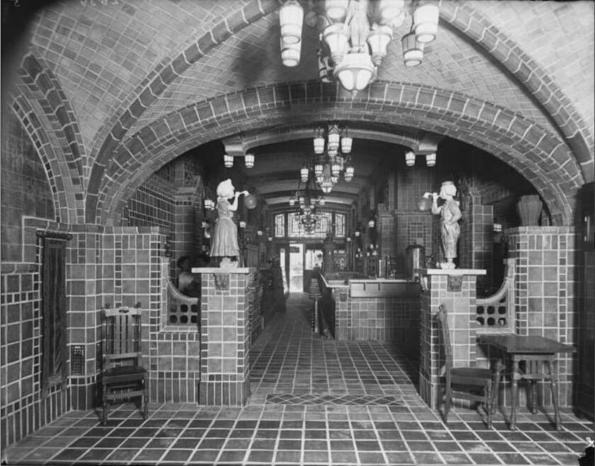 Black and white image of Dutch Chocolate Shop interior