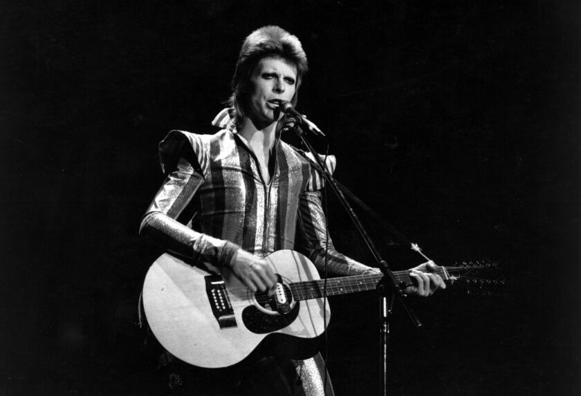 David Bowie performs his final concert as Ziggy Stardust in 1973 at the Hammersmith Odeon, London.