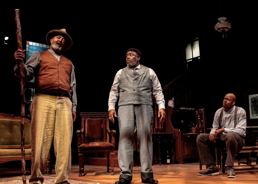 """Antonio """"TJ"""" Johnson (left), with Grandison M. Phelps III and Laurence Brown, in Cygnet Theatre's recent production of August Wilson's """"Gem of the Ocean."""" Johnson is portraying Paul Robeson in a reading of """"Mr. Rickey Calls a Meeting."""""""