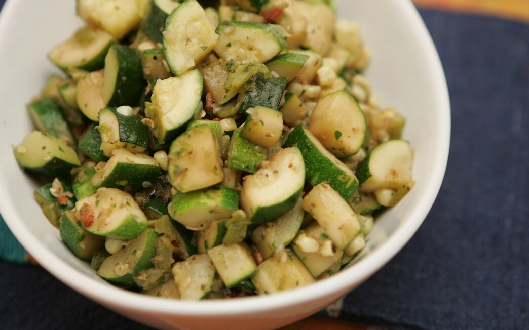 Zucchini, corn and green chile (Calabacitas)