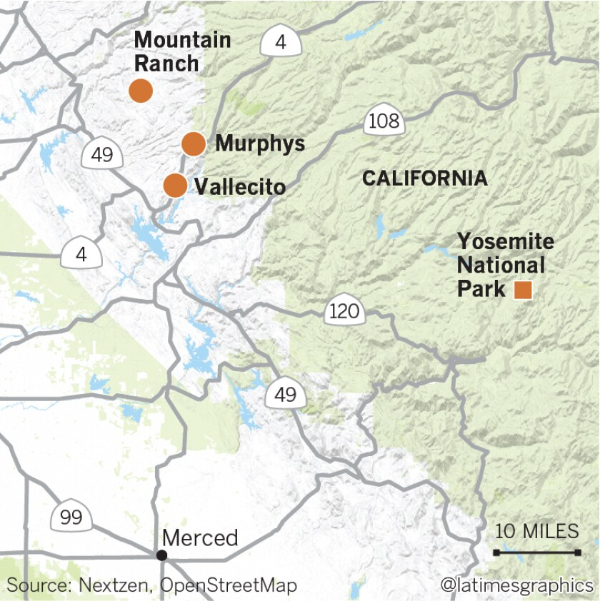 Map of Mountain Ranch, Murphys, Vallecito and Yosemite National Park in California.