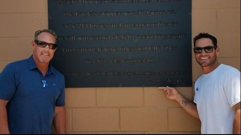 Brian Giles (left) and Marcus Giles are pictured in front of a plaque honoring Gordy Thompson, their baseball coach at Granite Hills High.
