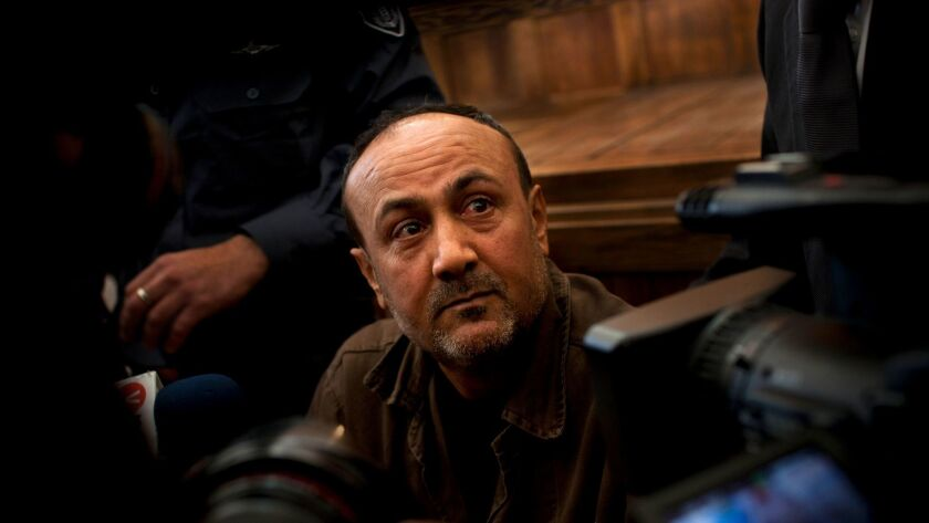 A Jan. 25, 2012, file photo of jailed Palestinian leader Marwan Barghouti, shown in a Jerusalem cour