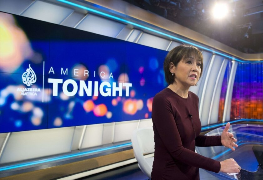 """Al Jazeera America will be available to Time Warner Cable subscribers in Los Angeles later this week. Above, Joie Chen, host of the news channel's """"America Tonight."""""""