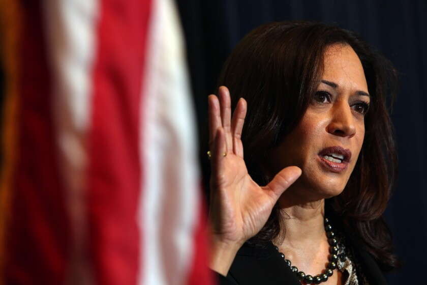 Atty. Gen. Kamala D. Harris addresses a press conference held in February to discuss the verdict in a cyber exploitation trial in San Diego.