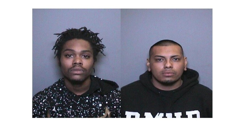 Willie James Clark, 21, left, of Rowland Heights and Brian Vega Salinas, 20, of La Puente were arrested in connection with a burglary at a Tustin pharmacy, police said.