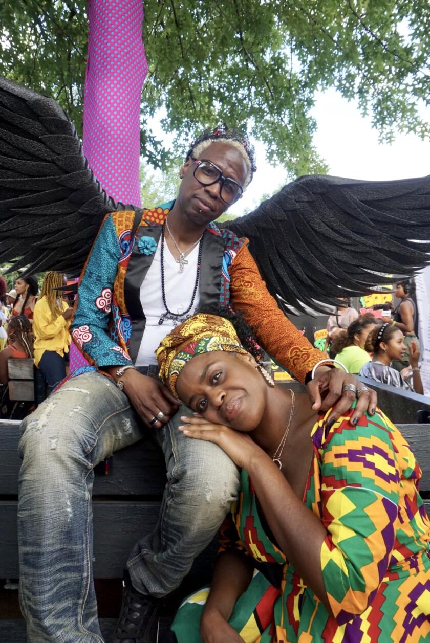 Jabari Dozier and Jewel Killikelly at Afropunk in Brooklyn, N.Y.