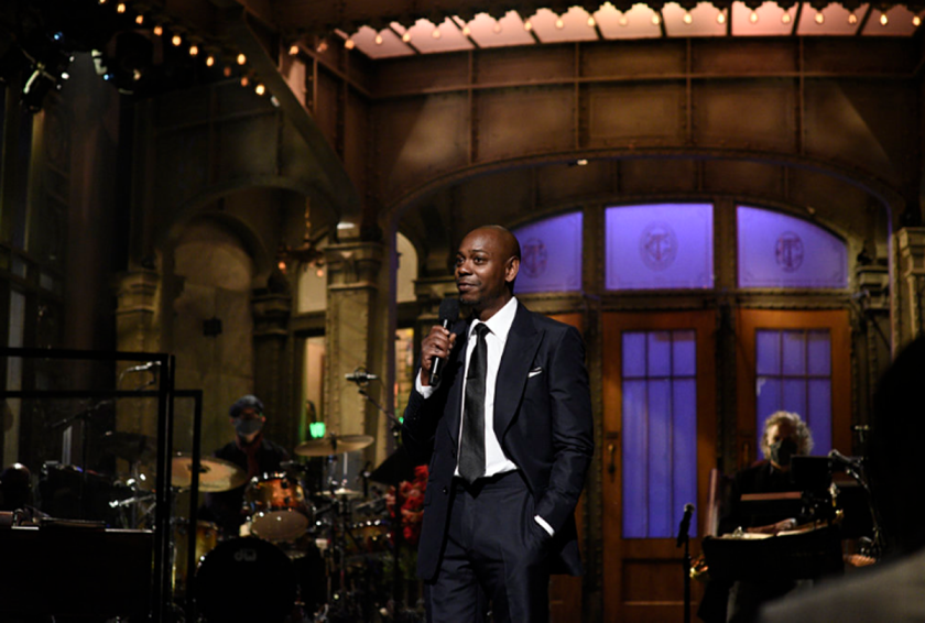 """""""Saturday Night Live"""" host Dave Chappelle on Saturday during the monologue."""