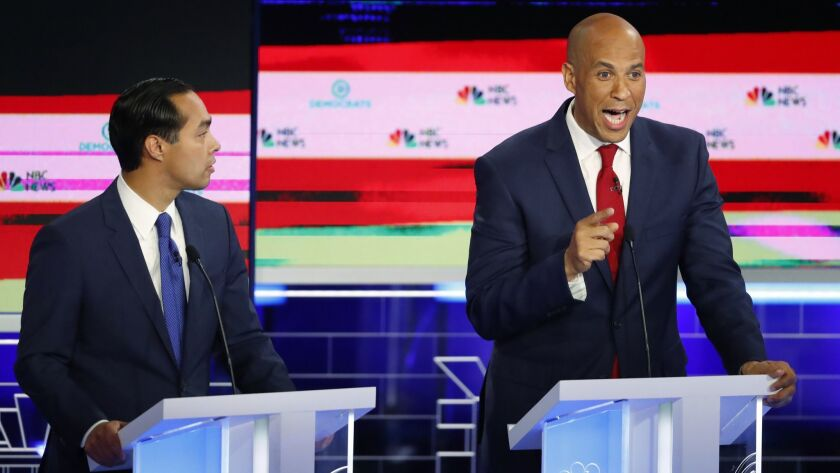 Democratic presidential candidate Sen. Cory Booker, D-N.J., speaks during a Democratic primary debat