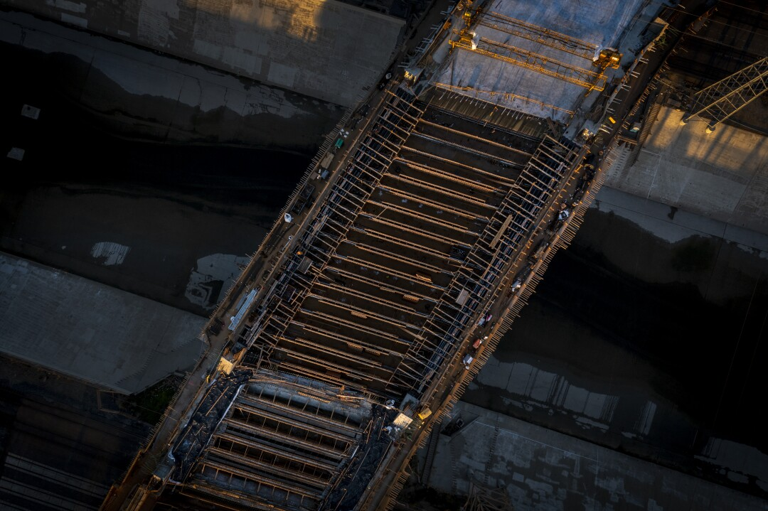 An aerial view of the new section of bridge over the L.A. River