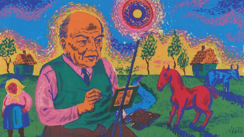 """Portion of Harry Sternberg's """"David Burliuk (Portrait)"""""""