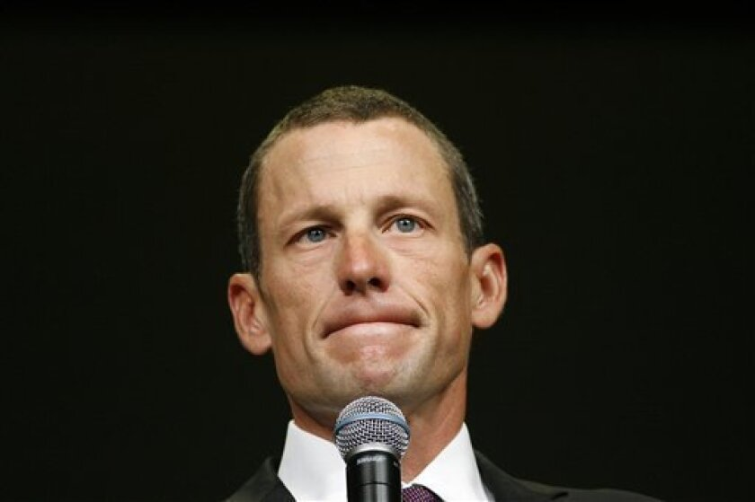 FILE - In this Aug. 24, 2009 file photo, Lance Armstrong speaks during the opening session of the Livestrong Global Cancer Summit in Dublin, Ireland. Local and international news crews are staking out positions in front of Armstrong's lush, Spanish-style villa ahead of the cyclist's interview with Oprah Winfrey later Monday, Jan. 14, 2013. (AP Photo/Peter Morrison, File)